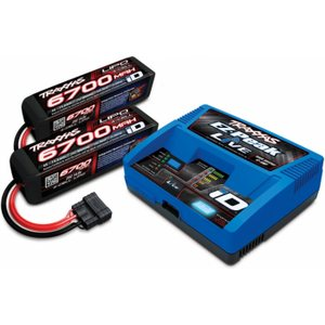 Traxxas 2993GX Charger EZ-Peak Live 12A and 2 x 4S 6700mAh Battery Combo