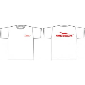 Awesomatix Awesomatix T-shirt white +red print (L)
