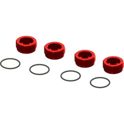 ARRMA RC ARA320467 ALUMINUM FRONT HUB NUT (RED) (4PCS INC. O-RINGS)