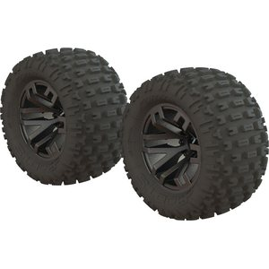 ARRMA RC DBOOTS 'FORTRESS MT' TIRE SET GLUED (BLACK CHROME) (2PCS) AR550045