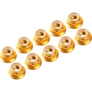 Ultimate Racing 3MM. ALU. NYLON NUT W/FLANGED GOLD (10pcs)