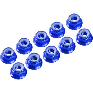Ultimate Racing 3MM. ALU. NYLON NUT W/FLANGED BLUE (10pcs)