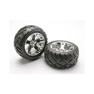 Traxxas 5576R Rear All-Star Chrome Wheels w/ Anaconda Tires