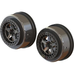 "ARRMA RC SC 2.2""/3.0"" WHEEL 14MM HEX (BLACK CHROME/2PCS) ARA510098"